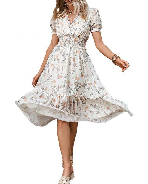 Envemour Women's V Neck Summer Floral Maxi Dress Boho Holiday Flowy Long Dresses at  Women's Clothing store