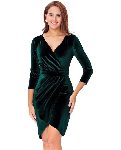InsNova Women's Long Sleeve Velvet Bodycon Wrap Cocktail Dress for Wedding Guest