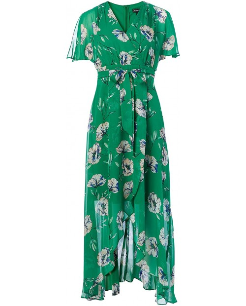 Jessica Howard Women's Butterfly Sleeve Bodice Maxi Dress with High Low Flounce Skirt and Tie Sash at Women's Clothing store