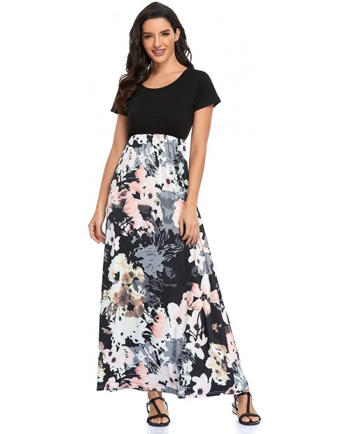 Lacavocor Womens Short Sleeve Maxi Dresses Empire Waist Casual Long Dress with Striped Floral Print at  Women's Clothing store