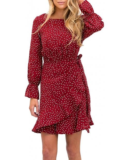 Relipop Women's Dress Polka Dot Floral Print Long Sleeve Crewneck Fishtail Ruffle Hem Short Mini Dresses at Women's Clothing store
