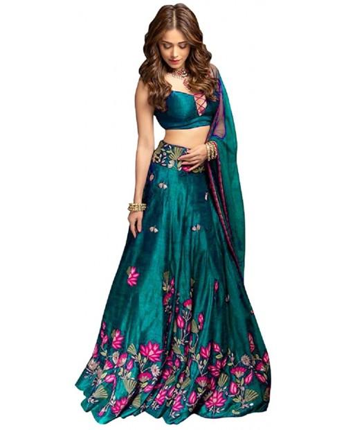 Skyview Fashion Exclusive Indian Bollywood Lengha Designer Semi Stitch Lehenga Choli Rama at Women's Clothing store