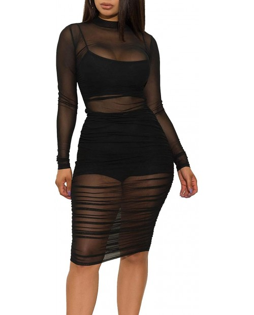 Uni Clau Women Sexy Sheer Mesh Boydcon Midi Dress See Through Printed Long Sleeve Midi Skinny Clubwear Party Dress