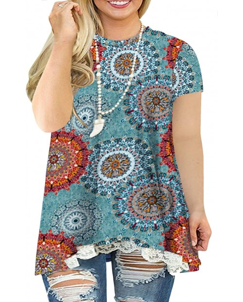 VISLILY Womens Plus Size XL-4XL Lace Short Sleeve A-Line Tunics Top Blouse Shirt at Women's Clothing store
