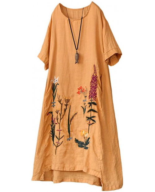 YESNO Women Casual Loose Embroidered Linen Tunic Dresses Hi-Low A-Line Sundress Beach Dress with Pockets E79 at Women's Clothing store