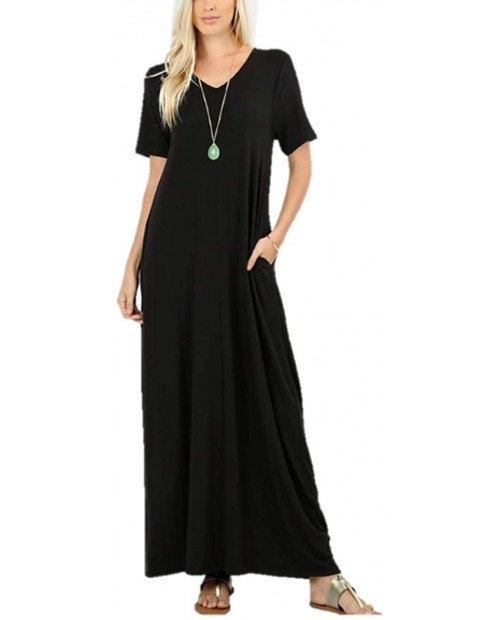 Zenana Women's Premium Casual Long Relaxed Loose T-Shirt Maxi Dress with Half Sleeves and Pockets S-3XL at  Women's Clothing store