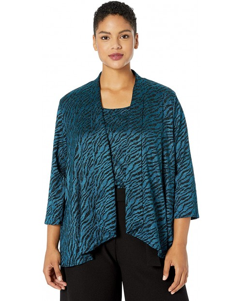 Alex Evenings Women's Plus Size Burnout Twinset Tank Top and Jacket at Women's Clothing store