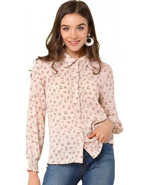 Allegra K Women's Long Sleeve Point Collar Blouse Floral Button Down Shirt at Women's Clothing store