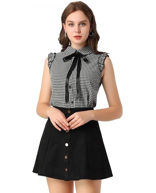 Allegra K Women's Office Bow Tie Turndown Collar Ruffle Button Down Blouse Shirt at Women's Clothing store