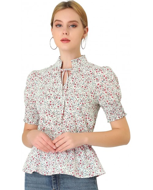 Allegra K Women's Ruffle Neck Tie Front Smocked Short Sleeve Floral Peplum Top at  Women's Clothing store