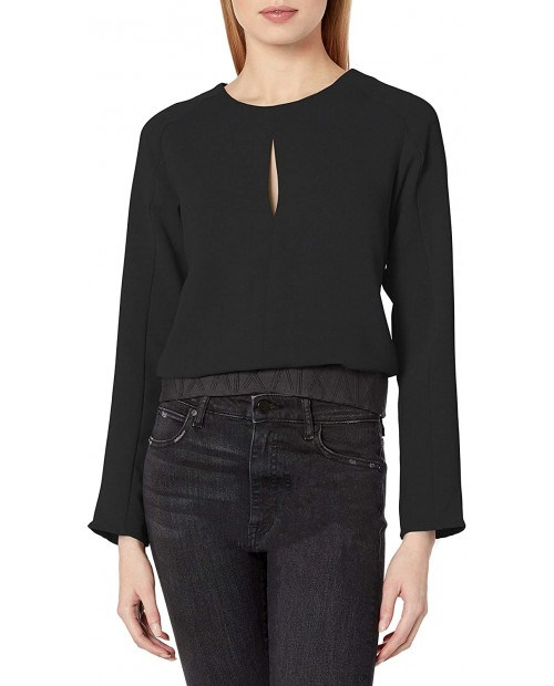 AX Armani Exchange Women's Scoop Neck Blouse with Keyhole Detail on Bust and Waistband at Women's Clothing store