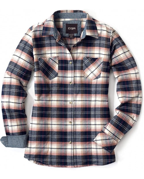 CQR Women's Plaid Flannel Shirt Long Sleeve All-Cotton Soft Brushed Casual Button Down Shirts