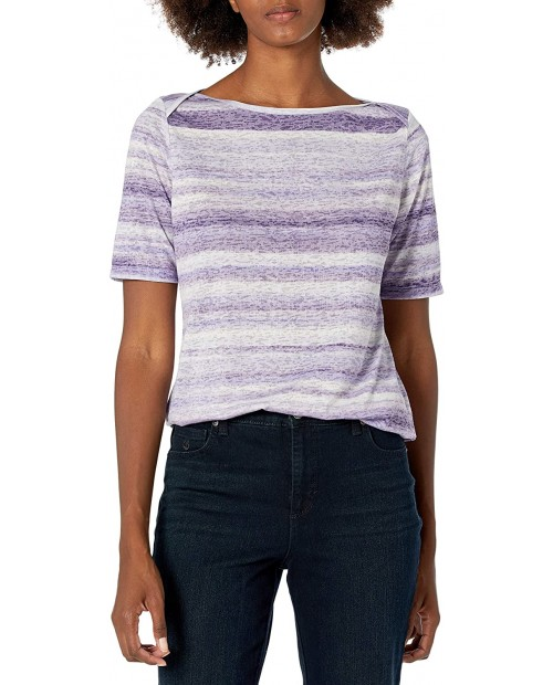 Erika Women's Meghan Wide Boat Neck Elbow Sleeve Top at Women's Clothing store