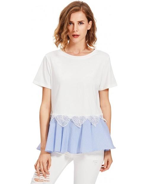 Floerns Women' Short Sleeve Ruffle Peplum Babydoll Blouse Top at  Women's Clothing store