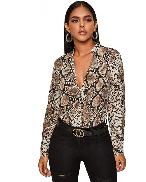 Floerns Women's Snakeskin Print Deep V Neck Blouse Top at Women's Clothing store