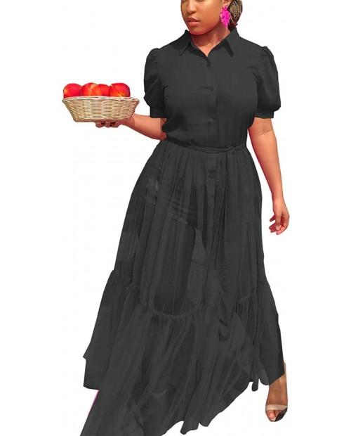 Kafiloe Women Short Sleeve Blouses Button Down Shirts Dress See Through Sheer Mesh Maxi Dress with Belt