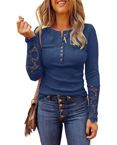 Limerose Women's Long Sleeve Lace Trim Tunic Tops Button Down Casual Blouse Cute Crew Neck Ribbed Shirt at  Women's Clothing store