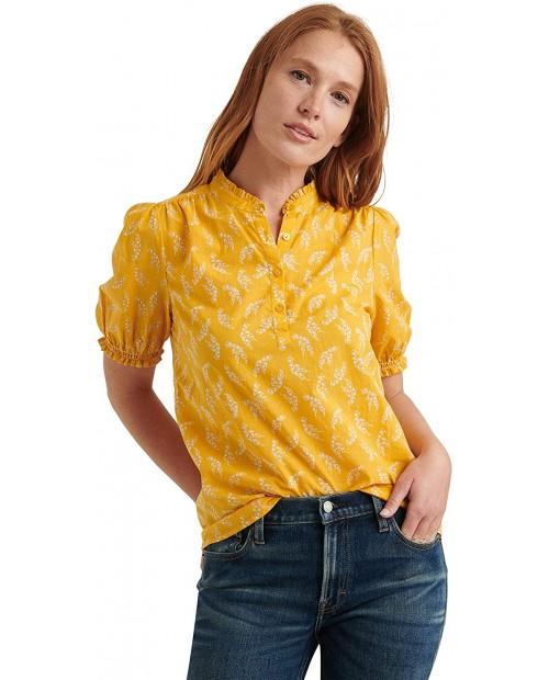 Lucky Brand Women's Short Sleeve Ruffle Collar Feminine Popover Top at  Women's Clothing store