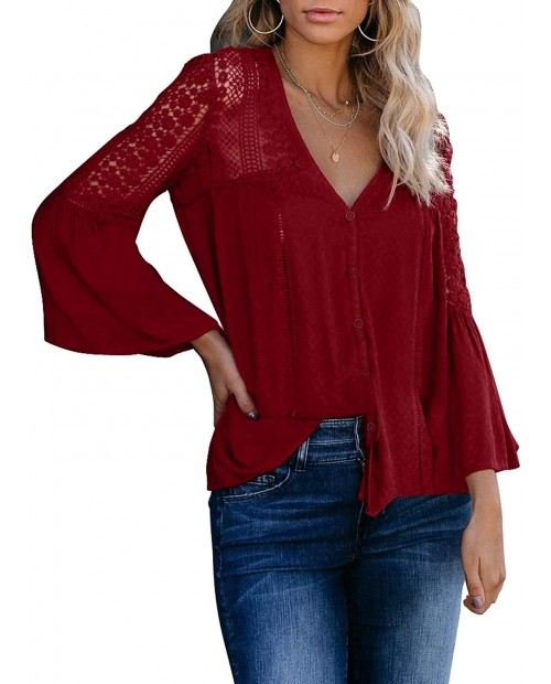 Qalaru Women Lace Crochet V Neck Tunic Shirts Bell Sleeve Button Down Casual Blouses Tops…