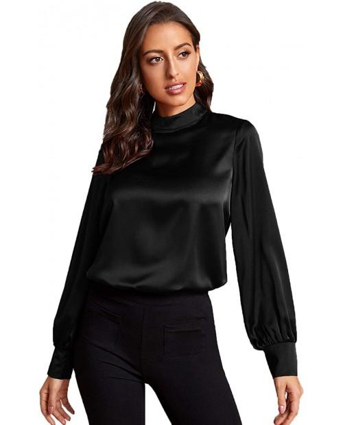 Verdusa Women's Elegant Mock Neck Long Sleeve Satin Blouse Top at  Women's Clothing store
