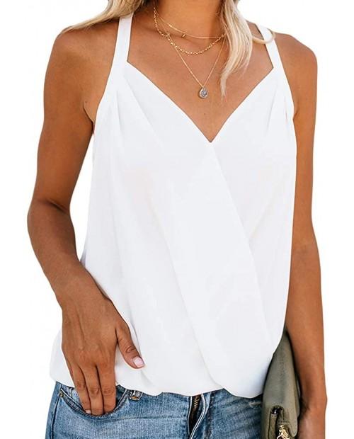 Women's V Neck Sleeveless Tank Tops Drape Wrap Front Pleated Back Casual Chiffon Cami Tops at  Women's Clothing store