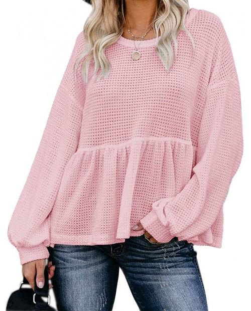 Womens Waffle Knit Shirts Long Sleeve Peplum Ruffled Layered Hem Blouse Tops at Women's Clothing store