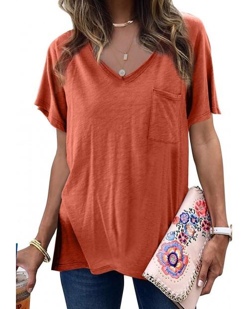 Aleumdr Womens Summer Crewneck Short Sleeve Top Casual Loose T Shirt Blouses S-XXL