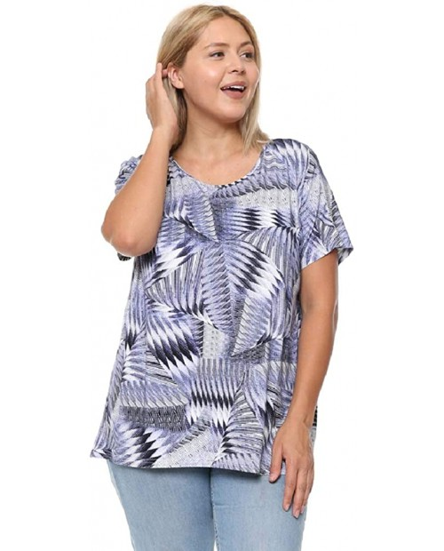 DAMOA Women's Shirt Tunic Blouse - Plus Size Short Sleeve Button Down Back Casual Print Scoop Neck Summer Tshirt Top at  Women's Clothing store
