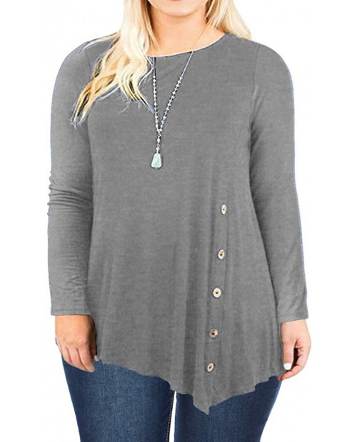 DOLNINE Womens Plus Size Tops Long Sleeve Pleated Hem Buttons Tunics Tees Shirts at  Women's Clothing store