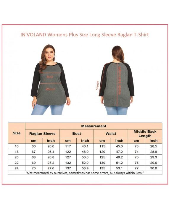 IN'VOLAND Womens Plus Size Tops Raglan Shirts Baseball Tee Round Neck Short Sleeve Long Sleeve Tunic T-Shirts