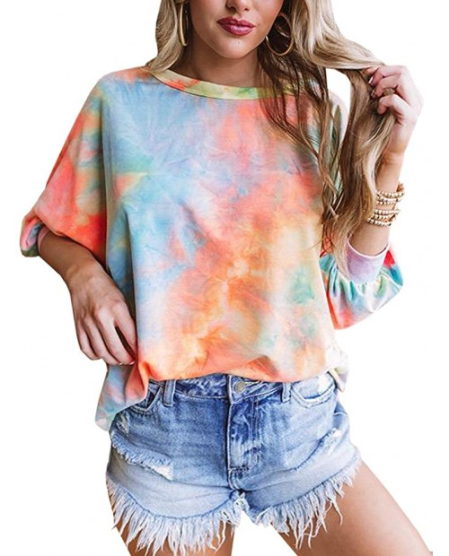 Womens Tie Dye 3 4 Sleeve Tops Plus Size Crewneck Loose Casual T-Shirt at Women's Clothing store