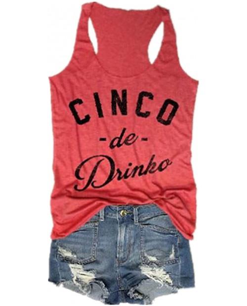 Cinco De Drinko Tank Tops for Women Cinco De Mayo Graphic Racerback Shirt Sleeveless Letter Print Summer Vest Tees