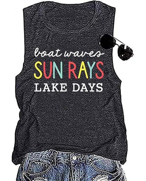 Earlymemb Women's Boat Waves Sun Rays Lake Days Graphic Tank Tops Summer Lake Life Sleeveless T-Shirt Funny Vacation Shirt