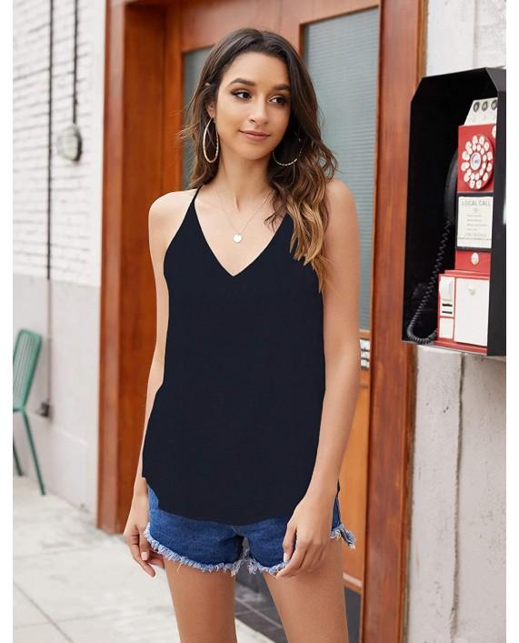 Halife Women's Chiffon Spaghetti Strap Tank Top V Neck Cami Sleeveless Shirt Blouse at Women's Clothing store