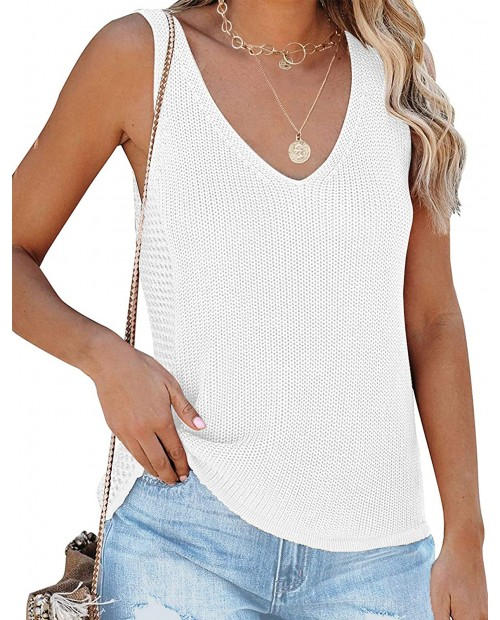 LOMON Women's Knit Tank Tops Sleeveless V Neck Sweater Vest Summer Loose Casual Shirts Blouses at Women's Clothing store