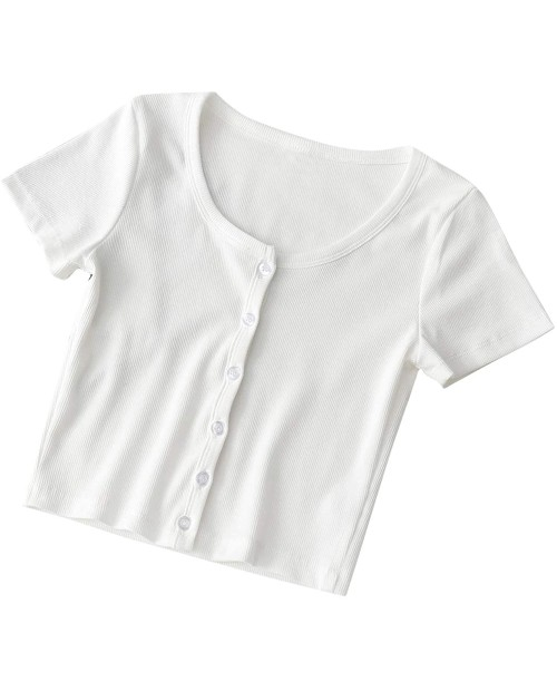 SheIn Women's Round Neck Short Sleeve Button Rib Knit Crop Tops T Shirts at  Women's Clothing store