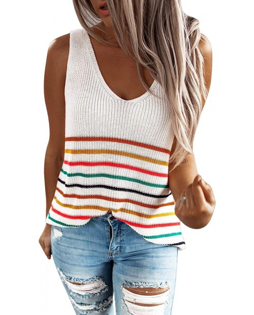Tiksawon Womens Summer Strappy Tank Tops Loose fit Casual Sleeveless Blouses Sexy Knit Cami Shirts at  Women's Clothing store