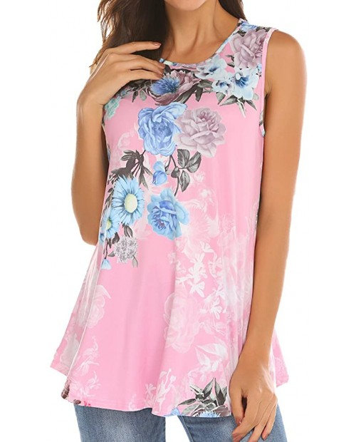 Tobrief Women Sleeveless Floral Print Swing Tunic Tank Tops at  Women's Clothing store