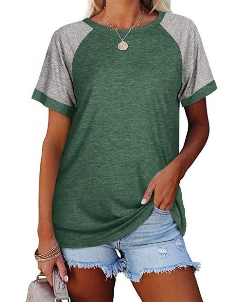 Fallorchid Women's Short Raglan Sleeve T-Shirts Casual Color Block Tops at Women's Clothing store