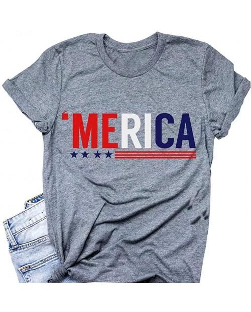 Funny Cute American Flag Tee Shirts for Women Short Sleeve USA American Flag Print Graphic Tee Shirts Tops
