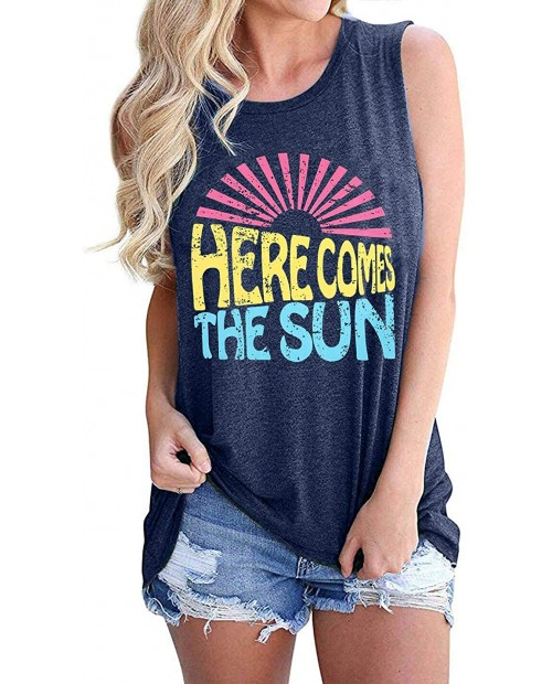 Here Comes The Sun Tank Tops Women Cute Sunshine Graphic Shirt Sleeveless Letter Print Tee T Shirt at  Women's Clothing store