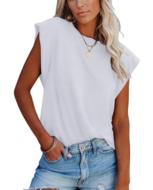 Peacameo Women's Summer Casual Top Crewneck Tee Shirt Blouse Sleeveless Tank at  Women's Clothing store