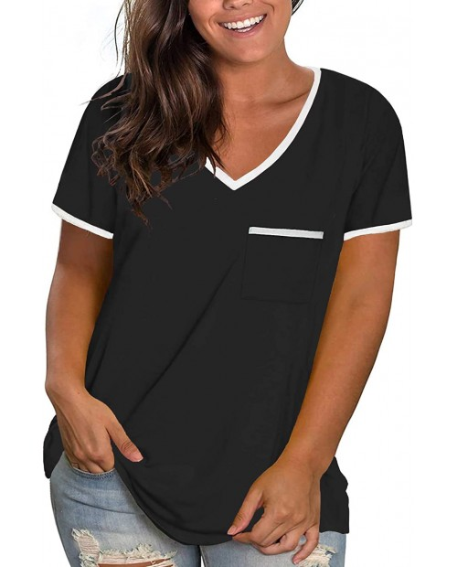ROSRISS Womens Plus Size Tops V Neck Short Sleeve T-Shirt Color Block Blouse Tunics with Pocket at  Women's Clothing store