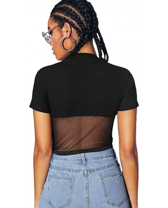 SheIn Women's Sexy Sheer Mesh Hem Rib Knit Short Sleeve T-Shirt Crop Top at Women's Clothing store