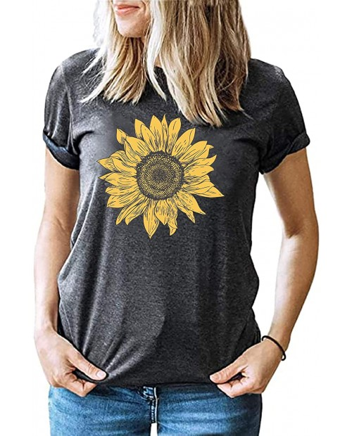 Sunflower Shirt Women Cute Floral Graphic Tee Shirts Short Sleeve Funny T-Shirt Top Blouse at  Women's Clothing store