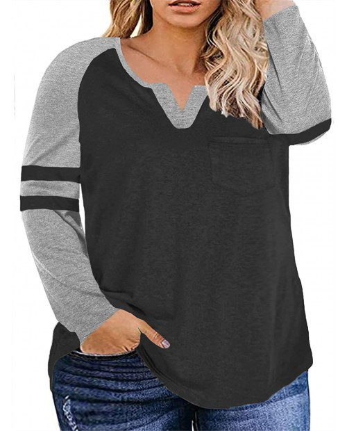 VISLILY Plus-Size Tops for Women Long Sleeve V Neck T Shirts Raglan Tees at  Women's Clothing store
