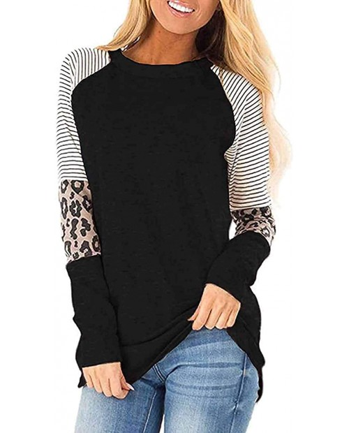 Womens Long Sleeve Tops Leopard Print T Shirts Tee Color Block Fall Clothes at  Women's Clothing store