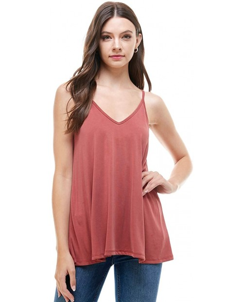 Alexander + David Womens Casual V-Neck Cupro Spaghetti Strap Open Back Loose Fit Flowy Tunic Top at  Women's Clothing store