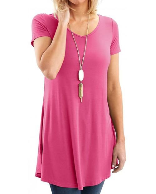 Bella Women's Designer V-Neck Short & Long Sleeve Flare Tunic at Women's Clothing store