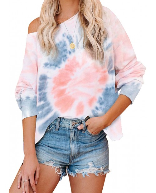 BLENCOT Women's Tie Dye Printed Long Sleeve Sweatshirt Round Neck Casual Loose Pullover Tops Shirts at Women's Clothing store